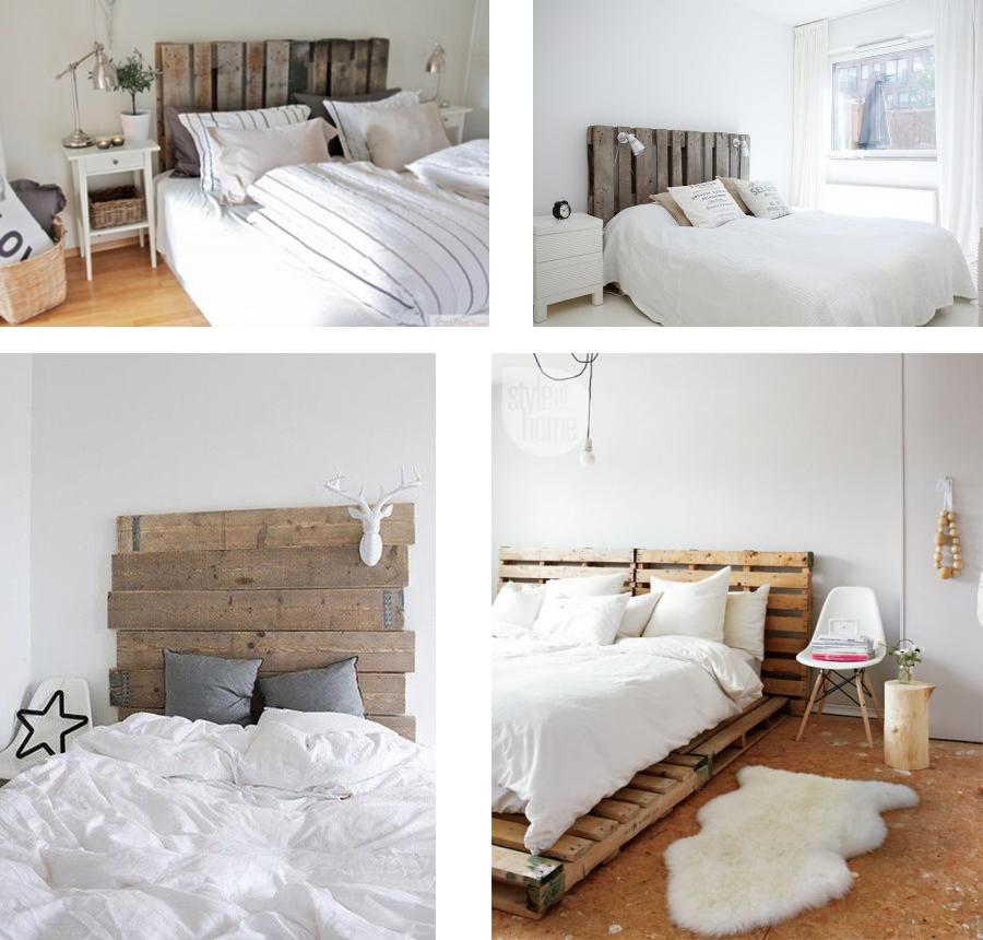 Camas y cabeceros de madera de palets y a so ar - Cabeceros de cama con palets ...