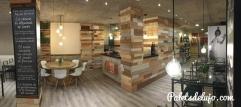 Pared revestida en madera reciclada, con tratamientos especiales para madera de interior.