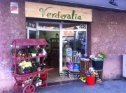 Rotulo de madera para floristería Verderalia