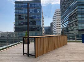 Barra de madera + estructura /Guirnalda de luces